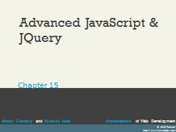 Advanced JavaScript & JQuery