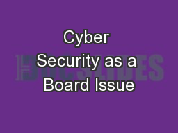 Cyber Security as a Board Issue