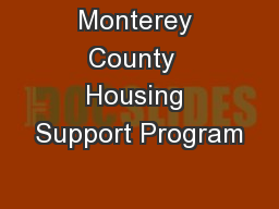 Monterey County  Housing Support Program