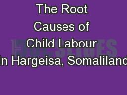 The Root Causes of Child Labour in Hargeisa, Somaliland