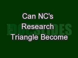 Can NC's Research Triangle Become