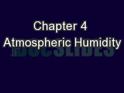Chapter 4 Atmospheric Humidity