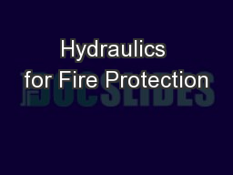 Hydraulics for Fire Protection