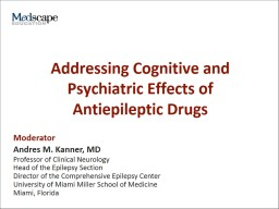 Addressing Cognitive and Psychiatric Effects of Antiepileptic Drugs