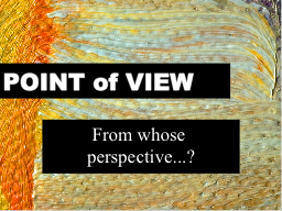 POINT of VIEW From whose perspective...?