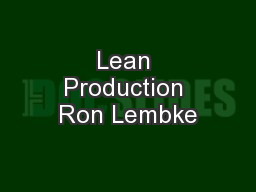 Lean Production Ron Lembke