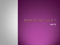 Romeo and Juliet Unit 10
