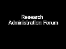 Research Administration Forum