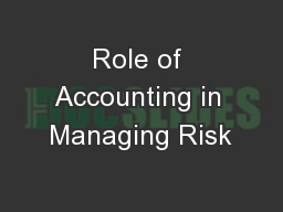 Role of Accounting in Managing Risk