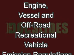 Marine Spark-Ignition Engine, Vessel and Off-Road Recreational Vehicle Emission Regulations