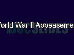 World War II Appeasement