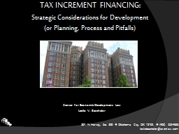 TAX INCREMENT FINANCING: