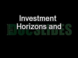 Investment Horizons and