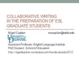 Collaborative WRITING  in the preparation of ESL graduate students