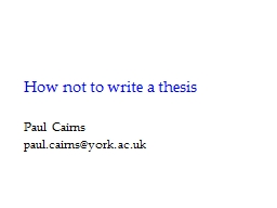 How not to write a thesis