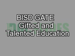 BISD GATE  Gifted and Talented Education