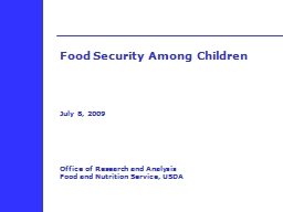 Food  Security  Among Children