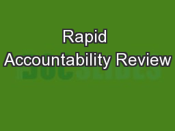 Rapid Accountability Review