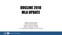 DOCLINE 2018 MLA UPDATE Collection Access Section