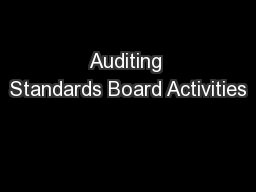 Auditing Standards Board Activities
