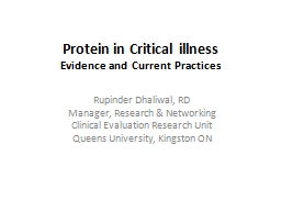 Protein in Critical illness