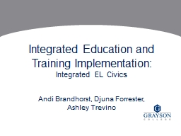 Integrated Education and Training Implementation:
