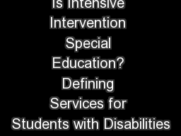 Is Intensive Intervention Special Education? Defining Services for Students with Disabilities