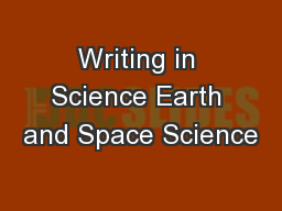 Writing in Science Earth and Space Science