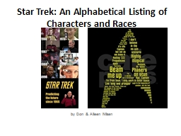 Star Trek: An Alphabetical Listing of Characters and Races