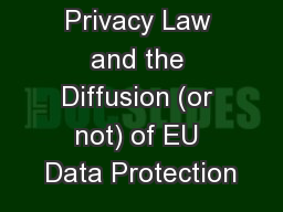 Global Data Privacy Law and the Diffusion (or not) of EU Data Protection