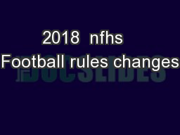 2018  nfhs   Football rules changes