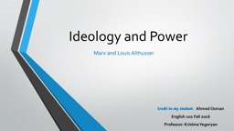 Ideology and Power Marx and Louis Althusser