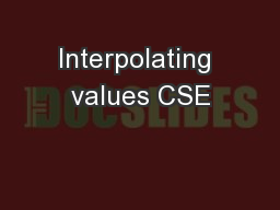 Interpolating values CSE