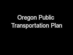 Oregon Public Transportation Plan