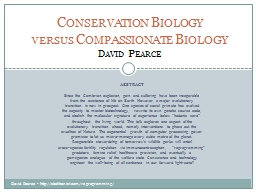 Conservation  Biology versus
