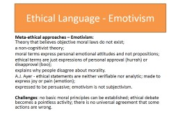 Ethical Language - Emotivism