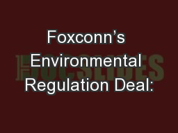 Foxconn's Environmental Regulation Deal: