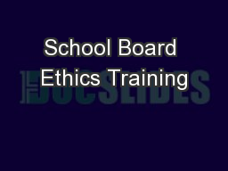 School Board Ethics Training