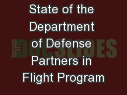 State of the Department of Defense Partners in Flight Program