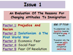 Issue 1 An Evaluation Of The Reasons For Changing Attitudes To Immigration