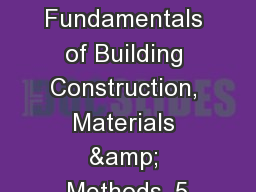 Windows Fundamentals of Building Construction, Materials & Methods, 5