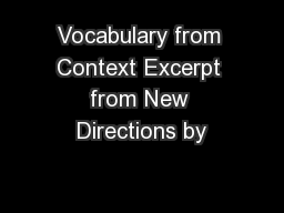 Vocabulary from Context Excerpt from New Directions by