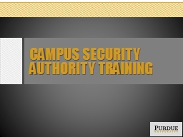 Campus Security Authority Training