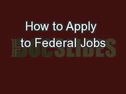 How to Apply to Federal Jobs