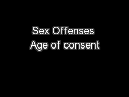 Sex Offenses Age of consent