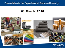 01 March 2016 `  Presentation to the Department of Trade and Industry
