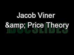 Jacob Viner & Price Theory