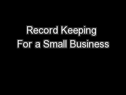 Record Keeping For a Small Business