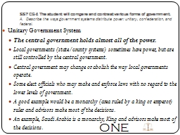SS7CG4 The student will compare and contrast various forms of government.