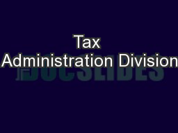 Tax Administration Division